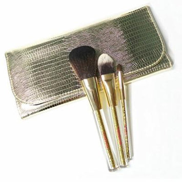 Etude House Shiny Gold Holiday Brush Pouch Set with 3pc Makeup Brushes