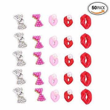 Yosoo 50pcs 5 Different Styles 3D Nail Art Alloy Rhinestones Bow Vermilion Border Beads Glitters Stickers DIY Decorations