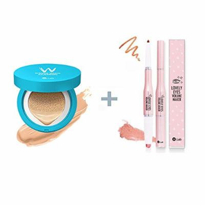 W-Snow Water Cushion 13g #21 (water light) + W.Lab Lovely Eyes Volume Maker Bronzer and Highlighter Stick for Eyes