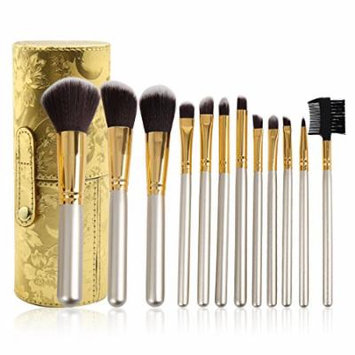 uxcell 12pcs Gold Tone Cylinder Pro Makeup Brush Tools Face Powder Eyeshadow Cosmetic Kit