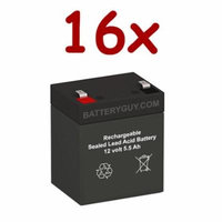 BatteryGuy BGH-1255F2 (Qty of 16) 12V 5.5ah High Rate Rechargeable UPS Backup Battery