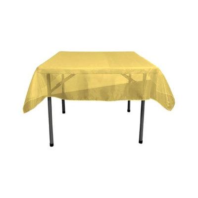 LA Linen TCOrgz58X58-DarkYellowO47 Sheer Mirror Organza Square Tablecloth, Dark Yellow - 58 x 58 in.
