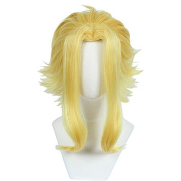 Linfairy Short Blonde Layered Cosplay Wig Halloween Costume Party Wig for Men