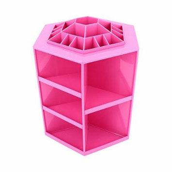 360 Degree Rotating Cosmetic Makeup Organizer,Tidy Organizer Cosmetic Display Brush Lipstick Storage Stand Box,Pink