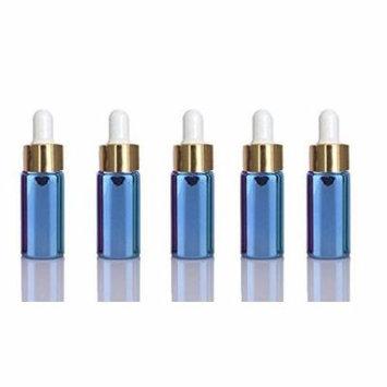 10 Sets Blue 5ml UV Coated Glass Dropper Bottles Refillable Medicine Dropper Bottles w/ Gold Caps & White Bulb Glass Pipette