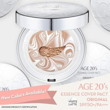 Age 20's Compact Foundation Premium Makeup, Case + 1 Refill - Pink Latte Essence Cover Pact SPF50+ (Made in Korea) - White/Natural Beige (Color 23)