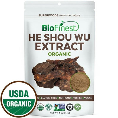 Biofinest He Shou Wu (Fo-Ti) Extract Powder - 100% Freeze-Dried Superfood - USDA Certified Organic Kosher Vegan Raw Non-GMO - Stamina Immunity Energy Tonic - For Smoothie Beverage Blend (4 oz)