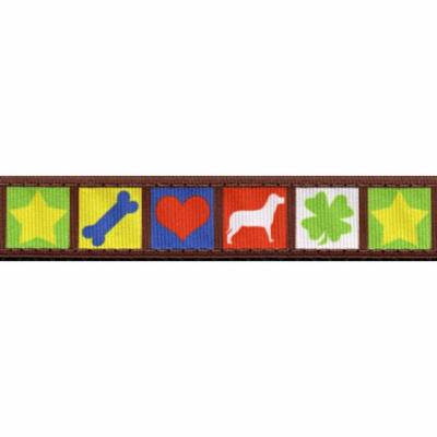 Country Brook Design® 3/4 Inch Dog Blocks Ribbon Dog Leash - 4 Foot