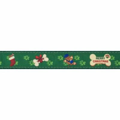 Country Brook Design® 3/4 Inch Doggy Christmas Ribbon Dog Leash - 4 Foot