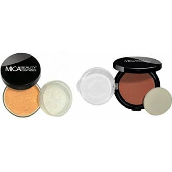 MICA Beauty Face Mineral Makeup Kit: Loose Powder Foundation MF3-Toffee + Pressed Compact Powder Blush MB-4 Sierra Suede