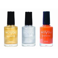 MoYou Nails Stamping Nail Polish Pack of 3: Gold, Silver and California Orange (Orange You Glad) Colours used for Stamping Nail Art to Create Beautiful Shinny and Fashionable Nails Sourced Directly from the Manufacturer