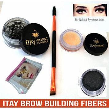 Bundle 4 Items: Itay Beauty Brow Building Enhancer Fibers Shaper Wax Duo Brush Spoolie & Angled & Cosmetic Bag (Black)
