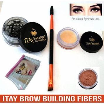 Bundle 4 Items: Itay Beauty Brow Building Enhancer Fibers Shaper Wax Duo Brush Spoolie & Angled & Cosmetic Bag (Auburn)