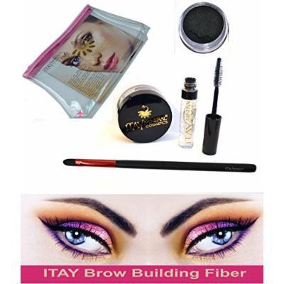 Bundle 4 Items: Itay Beauty Brow Building Fibers Set. Clear Gel +Brush+Bag + Keratin Fibers (Black)