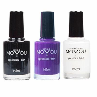 MoYou Nails Stamping Nail Polish Pack of 3: Black, White and Royal Purple (Purple People Eater) Colours used for Stamping Nail Art to Create Beautiful Shinny and Fashionable Nails Sourced Directly from the Manufacturer