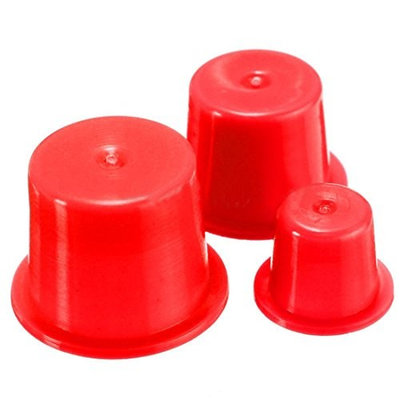 SODIAL(R) 100 x Small Red PE Tattoo Ink Cups Caps Holder Pigment Supplies