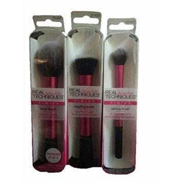Real Techniques 3 Pink Brush Set-Blush Brush, Stippling Brush & Setting Brush