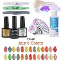 Elite99 Diamond Glitter UV LED Soak off Nail Art Any 5 Colors Gel Polish + 20pcs Remover Pads + Top & Base Coat + Cleanser Plus + Sanding File + Buffer + Polisher + 9W LED Lamp