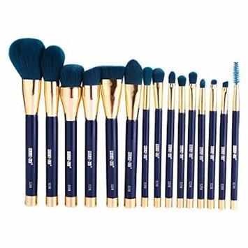 Wool Make Up Brush Set, 15 Pcs Professional Wood Handle Premium Synthetic Kabuki Foundation Blending Blush Concealer Eye Face Liquid Powder Cream Cosmetics Lip Brush Tool (Blackish Green)