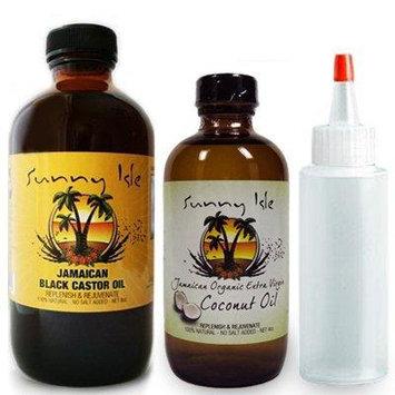 Sunny Isle Jamaican Black Castor Oil 8oz. & Extra Virgin Coconut Oil 4oz & Applicator by Sunny Isle