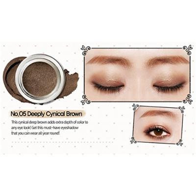Peripera Wholly Deep VELVET Pot Eye Shadow (1+1) Buy 1 Get 1 (#5 Cynical Dark Brown, #6 Innocent Peach Petal)