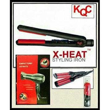 KQC X-Heat Tourmaline Ceramic Flat Iron + VBS Hair Dryer + Kqc Mini Waver + Kqc Thermal Shine Spray