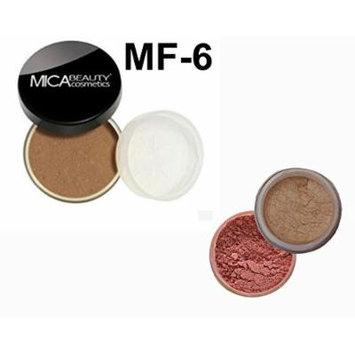 Bundle 3 Items: Mica Beauty Mineral Loose Powder foundation 9 Gram + Itay Mineral Cosmetics Matching Blush and Itay Highlights Elegance #1 (MF-6 CARAMEL)