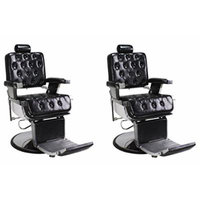 Barber Chairs 2 Black ROWLING Heavy Duty Hydraulic Recline Barber Shop Salon Furniture