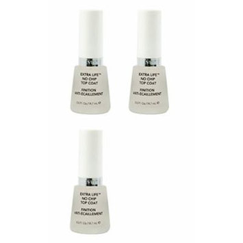 Revlon Extra Life No Chip Top Coat Nail Care, 0.5 Fl Oz (3 Pack) + FREE Scunci Black Roller Pins, 18 Pcs