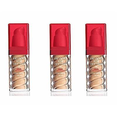 Revlon Age Defying Foundation with DNA Advantage, Golden Tan, 1 Fl Oz (3 Pack) + Makeup Blender