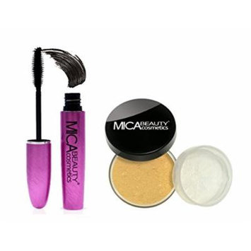 MICA Beauty Bundle: Long Lasting Mascara + Loose Powder Mineral Foundation 9gr MF5-Cappuccino