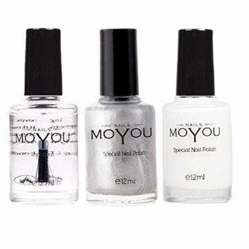 MoYou Nails Stamping Nail Polish Pack of 3: Top Coat, White and Silver Colours used for Stamping Nail Art to Create Beautiful Shinny and Fashionable Nails Sourced Directly from the Manufacturer
