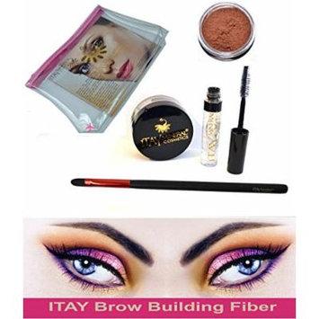 Bundle 4 Items Itay Beauty Brow Building Fibers Set Keratin Fibers+Fix Gel +Brush + Bag (Auburn)