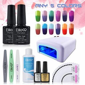 Elite99 Pick Any 5 Colors Soak Off Gel Nail Polish UV LED Color Nail Art Gift Set + Cleanser Plus + Busher Pen Manicure Tools Nail Files Removers + UV LED Nail Lamp