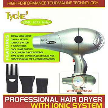 Tyche 3 Ionic 1875 Turbo Professional Hair Dryer with Ionic System High Performance Tourmaline Technology Italian Motor Low Noise