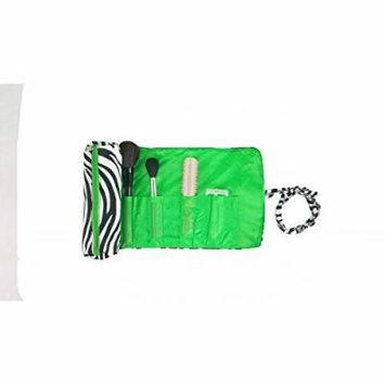 2 Pcs Set Brush Rolling Organizer Cosmetic Bag Zebra Black White Green Trim, CASE OF 12