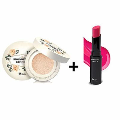 W.Lab Blossom White Cushion 15g / #21 Blossom Light + W.Lab Water Holic Lipstick Natural Ingredients Vivid Color Shiny & Moisture (Hot Pink)
