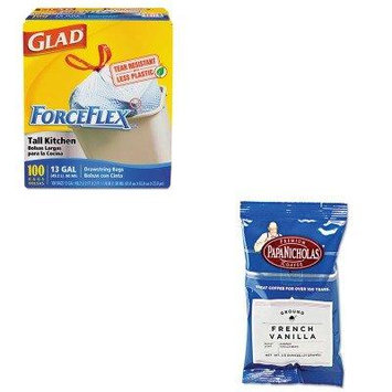 KITCOX70427PCO25188 - Value Kit - Papanicholas Coffee Premium Coffee (PCO25188) and Glad ForceFlex Tall-Kitchen Drawstring Bags (COX70427)