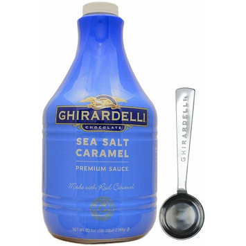 Ghirardelli - Sea Salt Caramel Flavored Sauce, 90.4 Ounce Bottle - with Limited Edition Measuring Spoon