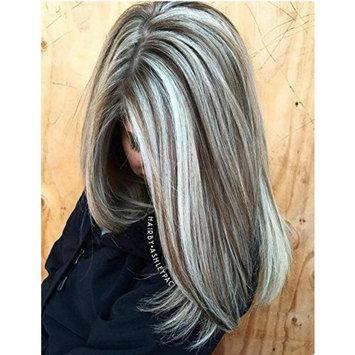 Sunny 16inch Piano Color Dark Brown with Blonde Lace Front Wigs with Baby Hair Natural Looking 130% Density Straight Pre Plucked Wigs For White Women []