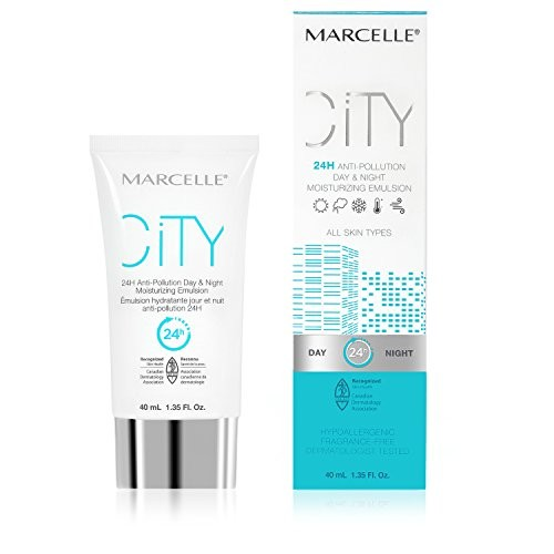 Marcelle City 24H Anti-Pollution Day & Night Moisturizing Emulsion, Hypoallergenic and Fragrance-Free, 1.35 fl oz