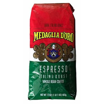 Medaglia D'Oro Whole Bean Italian Roast Espresso Coffee, 17 Ounce
