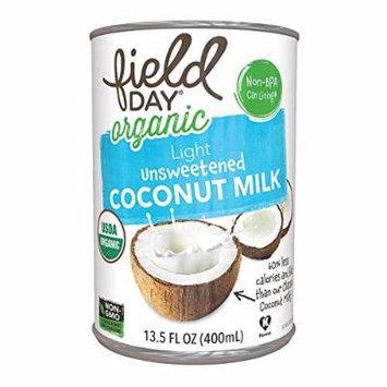 FIELDY Organic Coconut Milk; Light Unsweetened , Pack of 12
