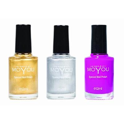 MoYou Nails Stamping Nail Polish Pack of 3: Gold, Silver and Razzle Dazzle Rose Colours used for Stamping Nail Art to Create Beautiful Shinny and Fashionable Nails Sourced Directly from the Manufacturer