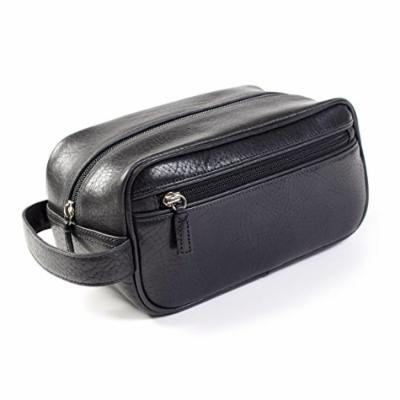Leatherology Small Shave Toiletry Bag - Italian Leather - Ebony (black)