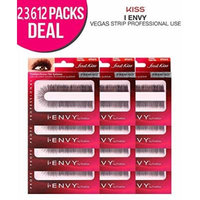 Kiss i-ENVY Premium Natural/Human Hair Vegas Strip Eyelashes (12 PACK, KEP07S)