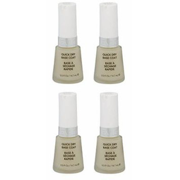 Revlon Quick Dry Base Coat, 0.5 Ounce (4 Pack) + FREE Scunci Black Roller Pins, 18 Pcs