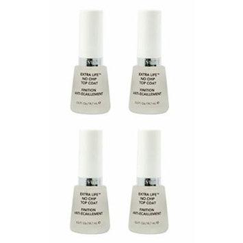 Revlon Extra Life No Chip Top Coat Nail Care, 0.5 Fl Oz (4 Pack) + FREE LA Cross Tweezers 71817