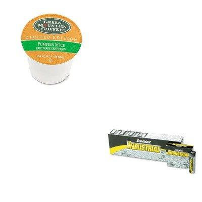KITEVEEN91GMT6758 - Value Kit - Green Mountain Coffee Roasters Fair Trade Certified Pumpkin Spice Flavored Coffee K-Cups (GMT6758) and Energizer Industrial Alkaline Batteries (EVEEN91)