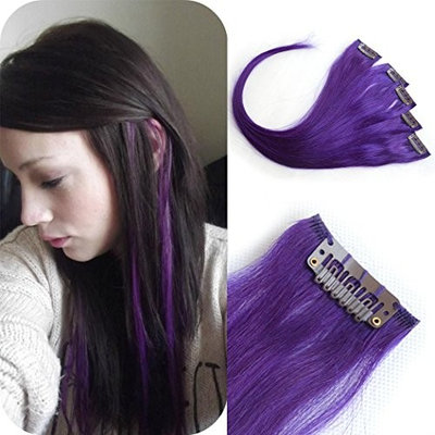 Luwigs Clip In Hair Extensions Straight Purple Color 100% Human Virgin Hair Clip In Highlights 18inches 5pcs/set (18inches, Purple)